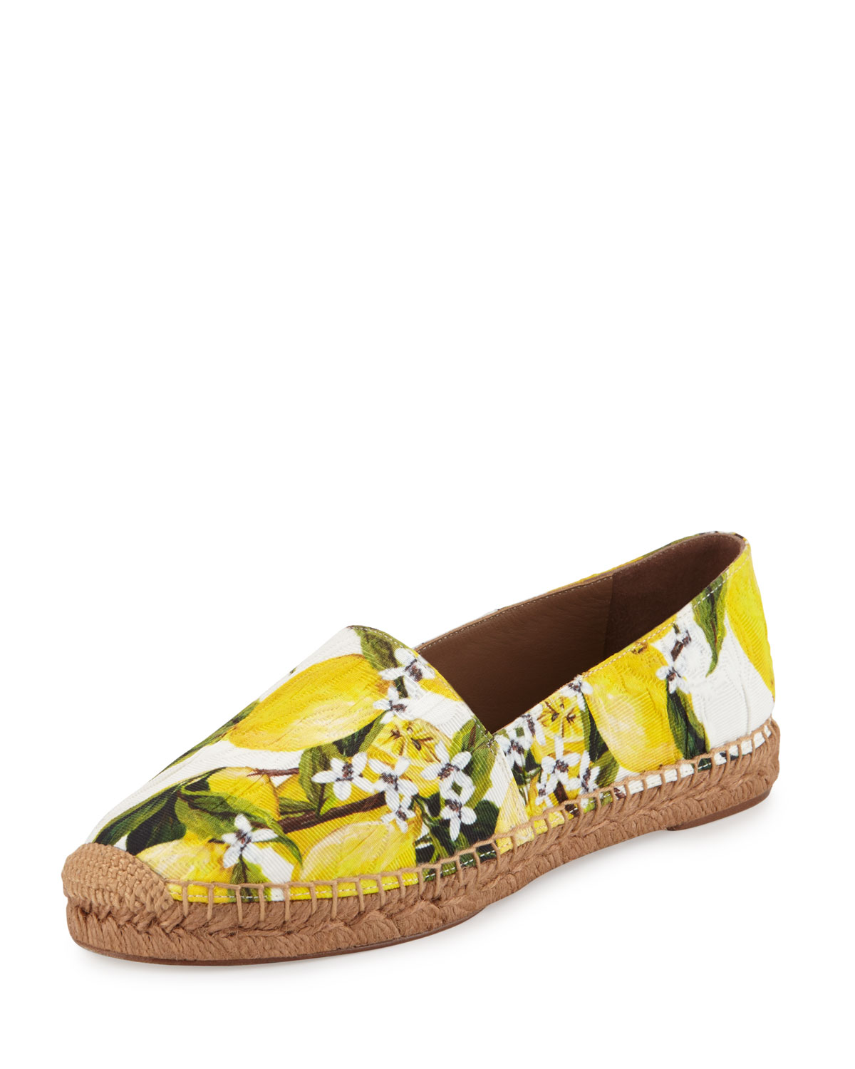 Lemon-Print Twill Espadrille, Yellow/White