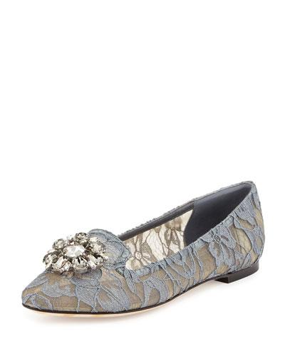Crystal-Embellished Lace Loafer, Gray