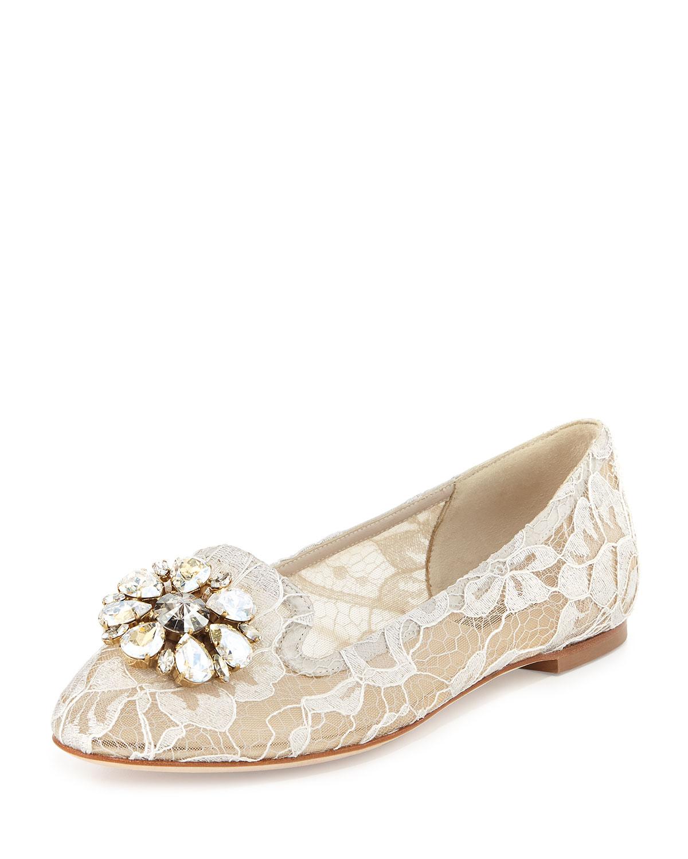 Crystal-Embellished Lace Loafer, Sand