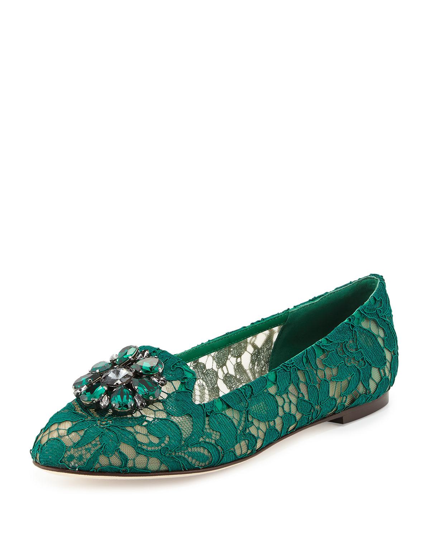 Crystal-Embellished Lace Loafer, Green