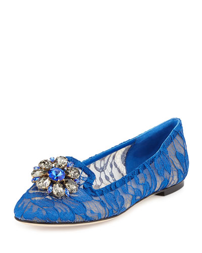 Crystal-Embellished Lace Loafer, Blue