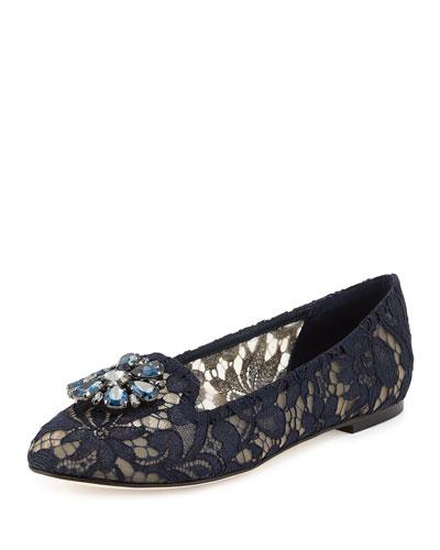 Crystal-Embellished Lace Loafer, Navy