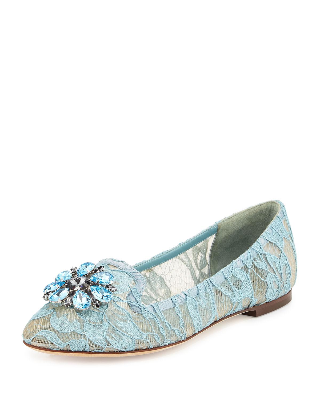 Crystal-Embellished Lace Loafer, Light Blue