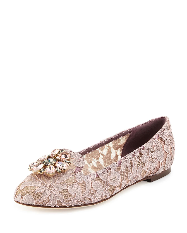 Crystal-Embellished Lace Loafer, Lavender