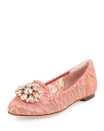 Crystal-Embellished Lace Loafer, Pink