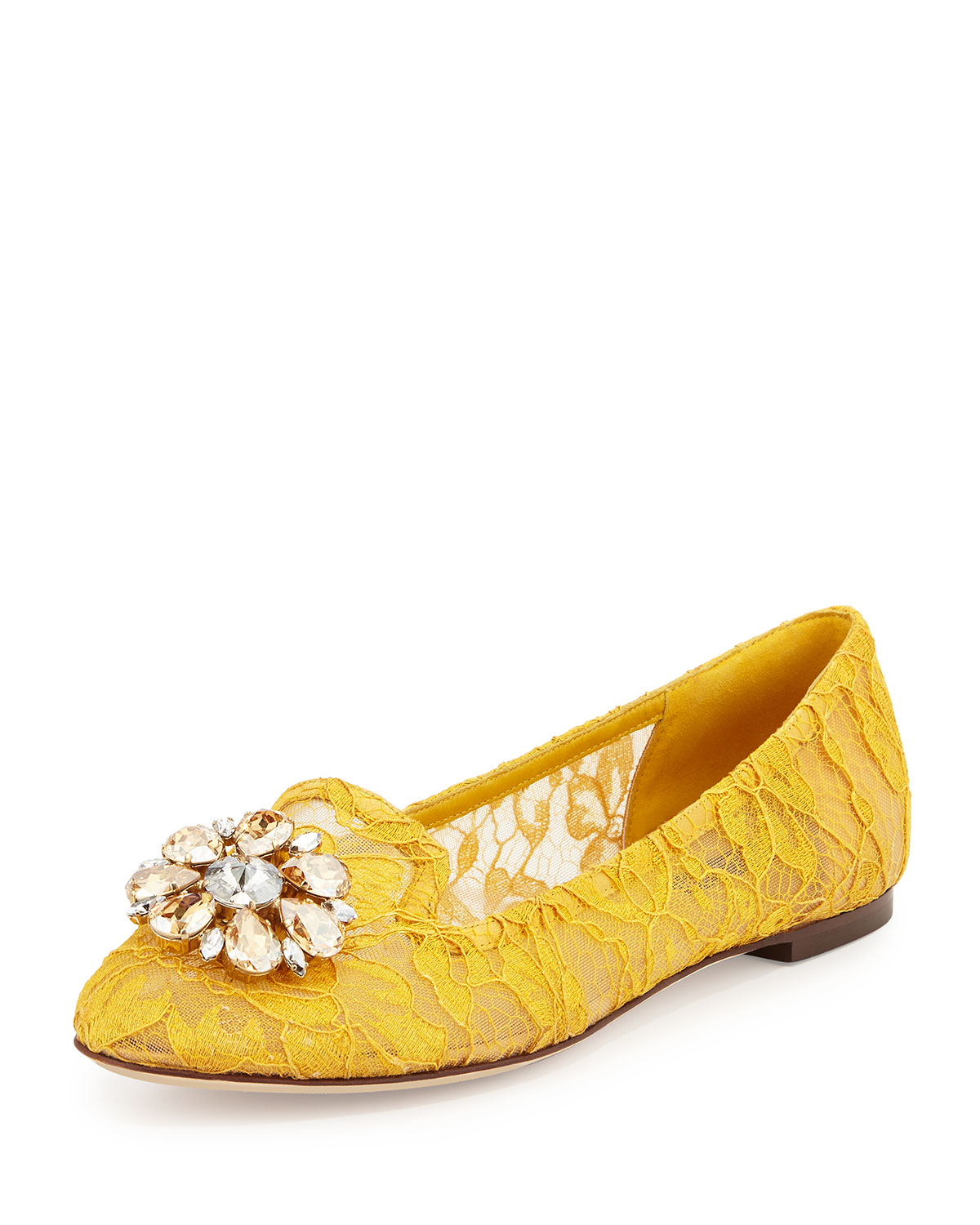 Crystal-Embellished Lace Loafer, Dark Yellow