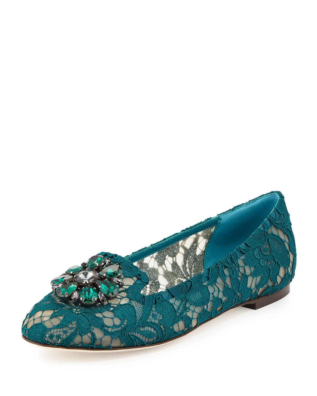 Crystal-Embellished Lace Loafer, Dark Green