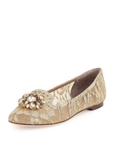 Crystal-Embellished Lace Loafer, Light Gray