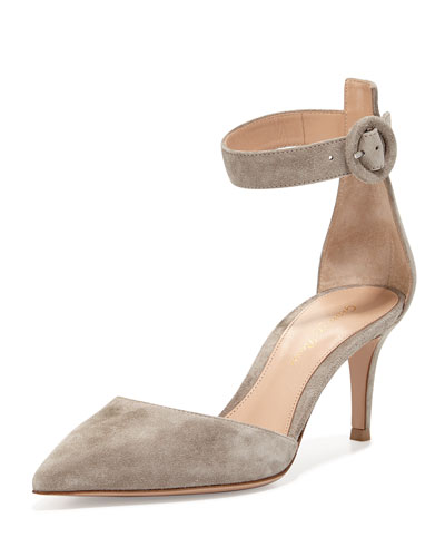 Suede Point-Toe Ankle-Wrap Sandal, Dust