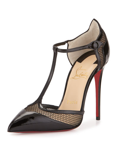 Mrs. Early T-Strap Red Sole Pump, Black