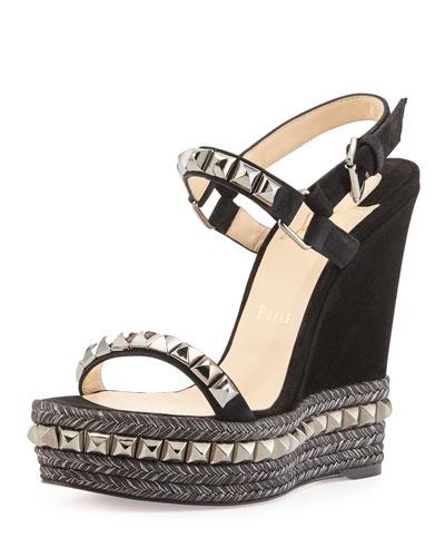 Cataclou Studded Suede Wedge Sandal , Black/Dark Gunmetal
