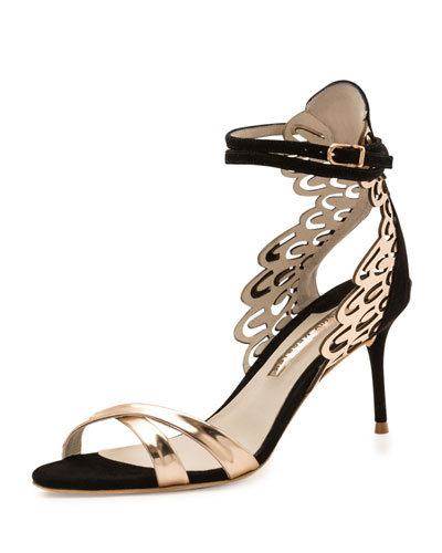 Micah Metallic Butterfly-Wing Sandal, Black/Rose-Golden