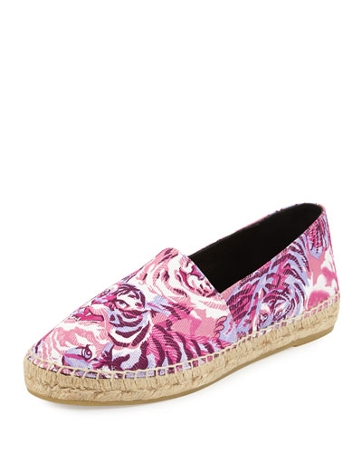 Flying Tiger-Print Canvas Espadrille, Fuchsia