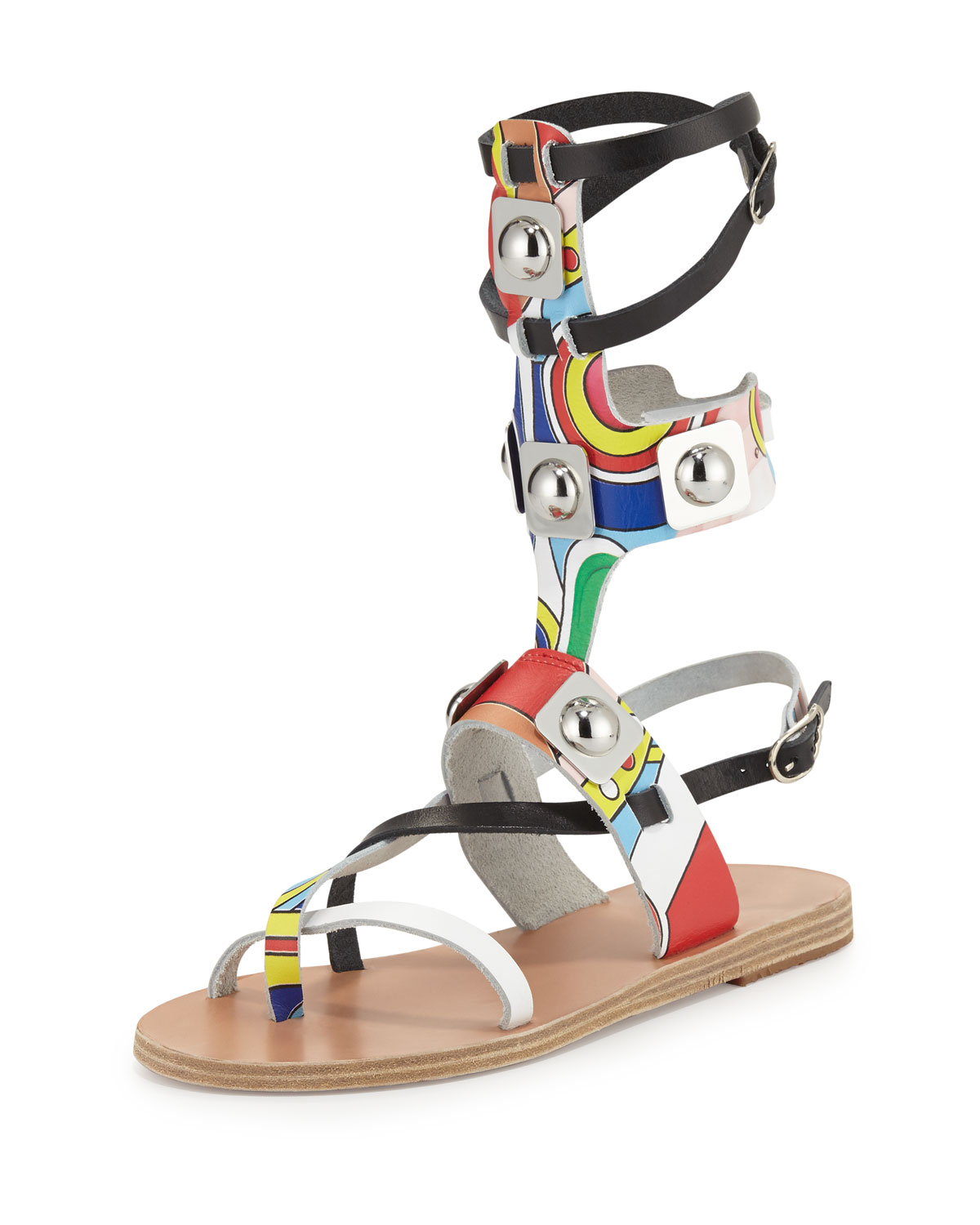 Printed Leather Gladiator Sandal, Multicolor