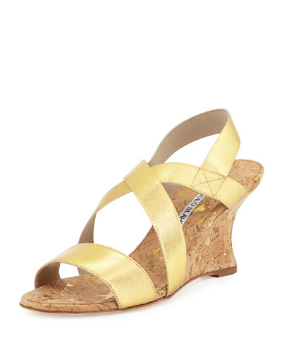 Terwe Elastic Metallic Cork Wedge Sandal, Gold