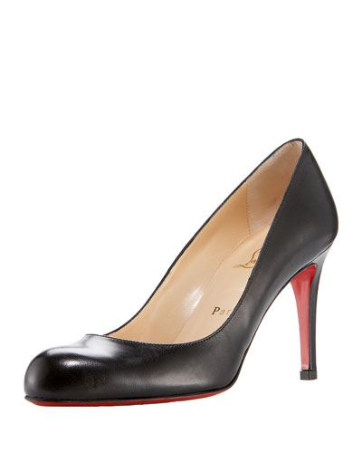 Simple Napa Leather Red Sole Pump, Black