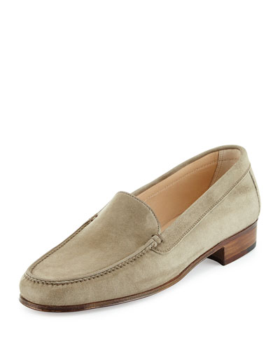 Suede Venetian Loafer, Taupe