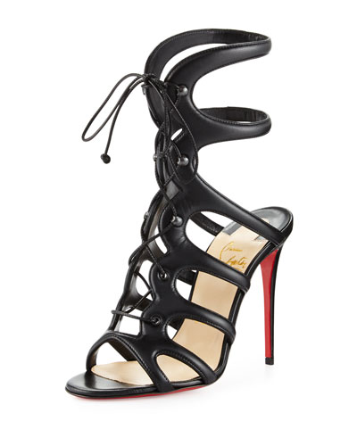 Amazoulo Lace-Up Red Sole Sandal, Black