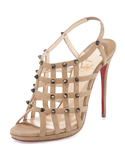Guinievre Caged Suede Red Sole Sandal, Noisette/Corne