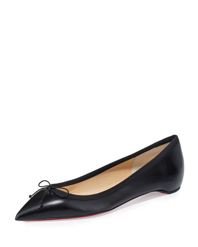 Solasofia Leather Red Sole Flat, Black