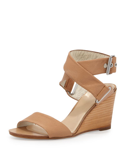 Damien Leather Wedge Sandal, Tan