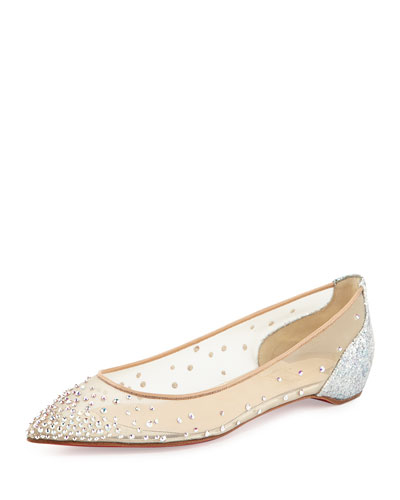 Body Strass Embellished Red Sole Skimmer Flat