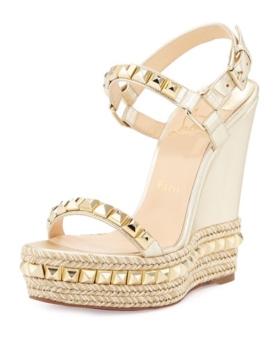 Cataclou Studded Leather Wedge Red Sole Sandal, Sahara/Light Gold