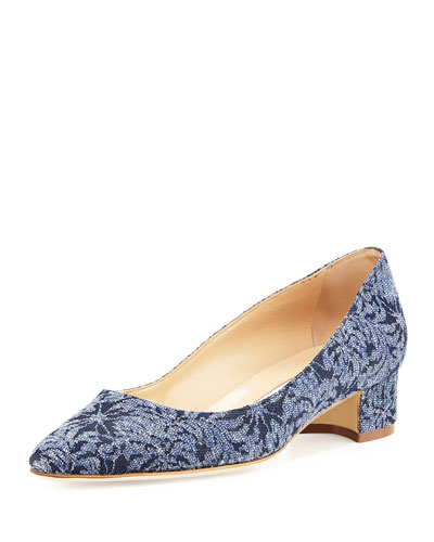 Listony Floral Denim Block-Heel Pump