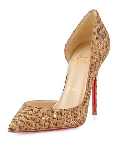 Iriza Cork Half-d'Orsay Red Sole Pump, Gold