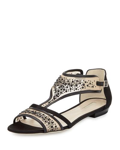 Crystal Mesh Flat Leather Sandal, Black Jet