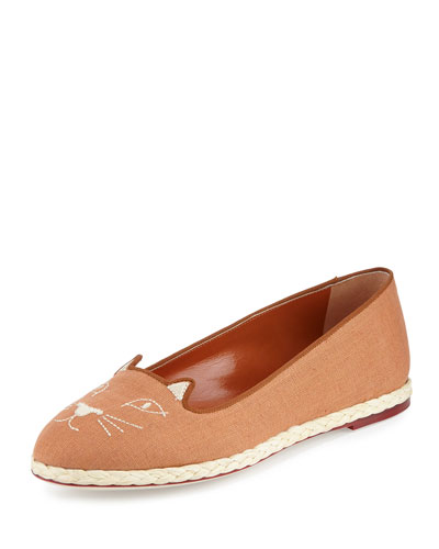 Capri Cats Linen Espadrille Flat, Earthy Brown