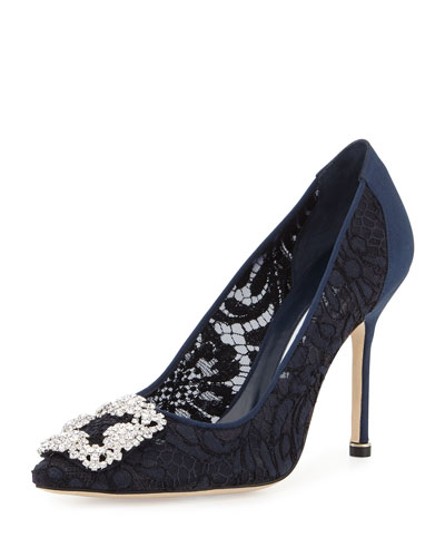 Hangisi Satin & Lace 105mm Pump, Navy