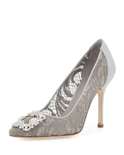 Hangisi Satin & Lace 105mm Pump, Pewter