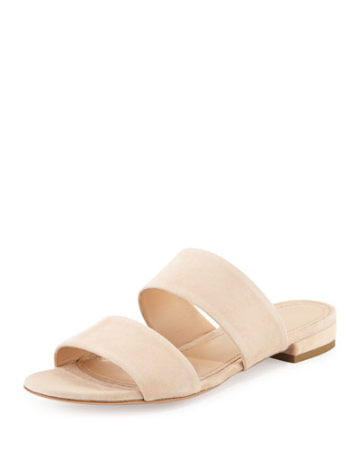 Suede Two-Band Flat Slide Sandal, Sand