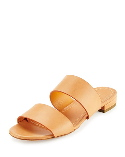 Leather Double-Strap Slide Sandal, Camello