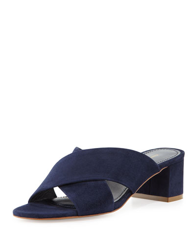 Suede Crisscross 40mm Slide Sandal, Blue