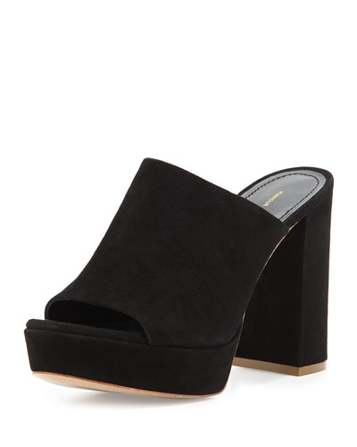 Suede Block-Heel Mule Sandal, Black