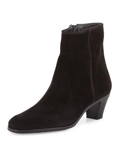 Suede Stack-Heel Ankle Bootie, Black