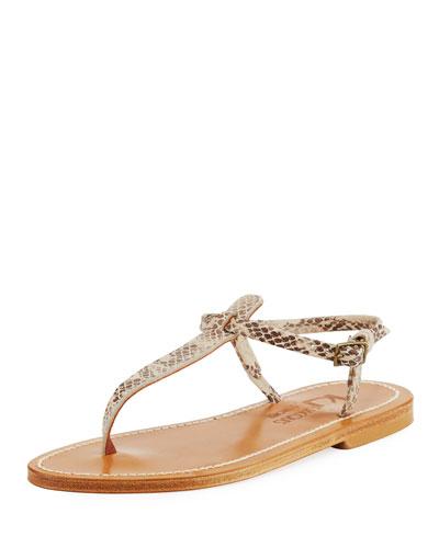 Picon Flat Thong Sandal, Snake