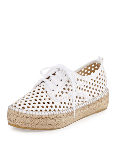 Alfie Perforated Espadrille Sneaker, White