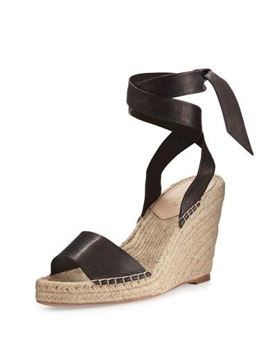 Harper Ankle-Wrap Wedge Sandal, Black