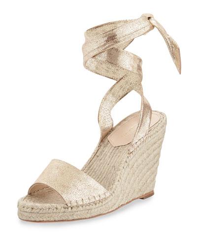 Harper Metallic Wedge Espadrille Sandal, Gold