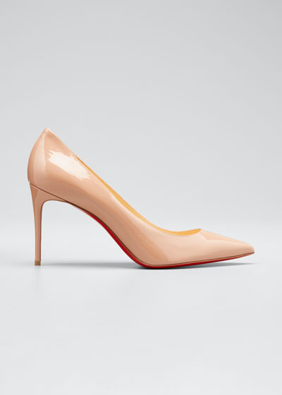 Decollete 85mm Patent Leather Red Sole Pump, Nude