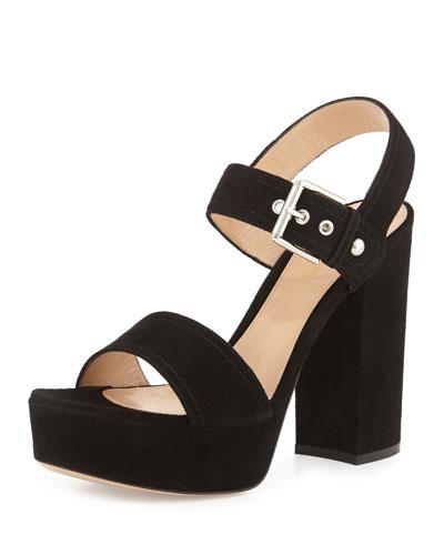 Suede Two-Band Platform Sandal, Black