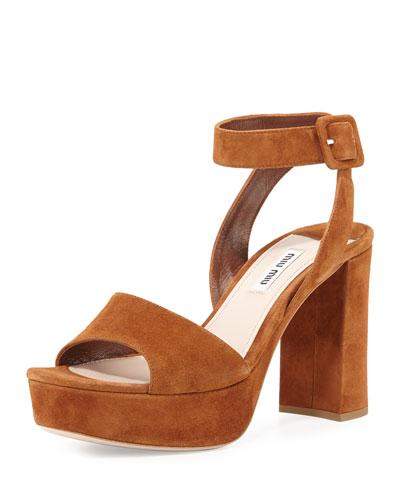 Suede Block-Heel Ankle-Wrap Sandal, Palissandro