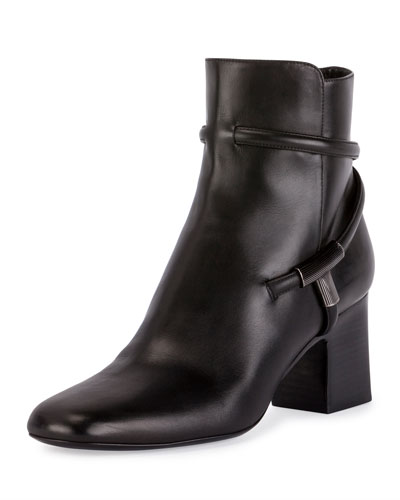 T-Bar Leather 65mm Bootie, Black