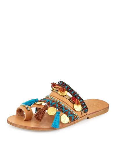 Marrakech Embroidered Coin Sandal Slide, Multi