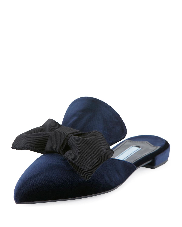 Flat Velvet Bow Mule Flat, Blue (Bleu)