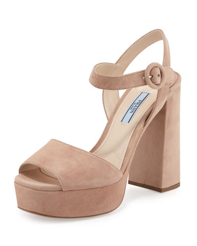 Suede Platform Ankle-Wrap Sandal, Nudo