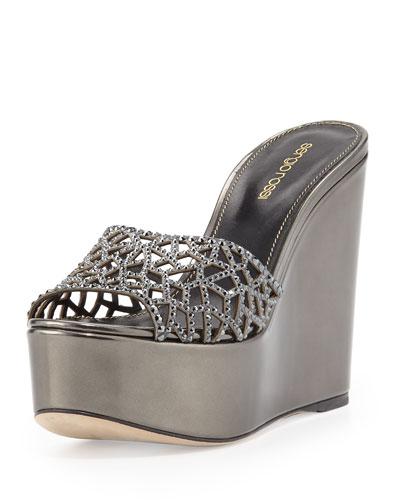 Tressor Laser-Cut Crystal-Leather Platform Sandal Slide, Black